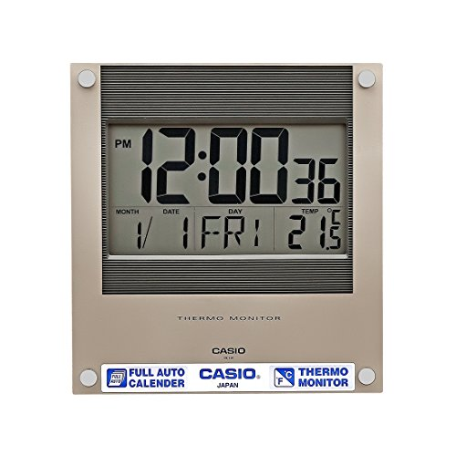 Casio Square Resin Digital Wall Clock (23.6 cmx22.1 cmx2.4 cm, Black, WCL38)