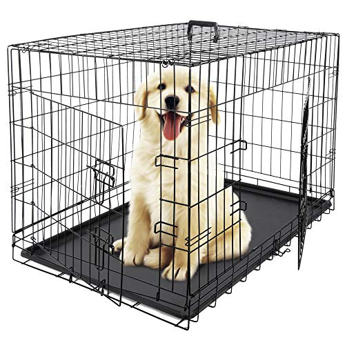 ZENY 36 inch Dog Crate Double Door Folding Metal Dog or Pet Crate Kennel with Tray and Handle