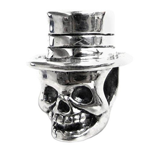 925Sterling Silber Halloween Hat Totenkopf Skelett Perle für europäische Charm Armband