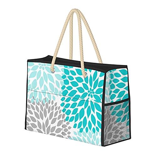 Bolsas de playa para mujer, color turquesa, azul, gris, decoración de Dahlia, grande, bolsa de viaje, bolsa de almacenamiento, bolsa de semana, bolsa de hombro para playa, viajes, gimnasio