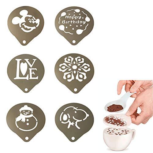 LxwSin Kaffee Schablonen Edelstahl, Kaffee Schablonen Set, 6 Stück Barista Cappuccino Kaffee Kunst Vorlagen, Latte Art Personalisierte Schablone DIY Schablonen Vorlagen für Kaffee Kuchen Dekorieren
