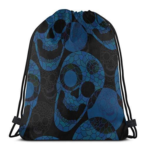 asdew987 Mochila con cordón y diseño de calaveras coloridas, color negro, para mujer, ligera, para senderismo