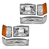 Brock Replacement Headlights with Front Park Signal Lamps & Side Markers 6 Pc Lights Set Compatible with 1993-1996 Grand Cherokee 56005099 55155126