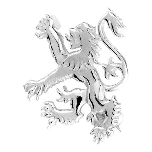 925 Sterling Silver Precious Metal Scottish Lion Rampant Pin Clasp Garment Clothes Fibulae Brooch