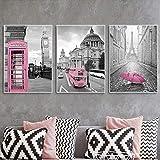 Arte de la pared de la lona Rosa Negro Blanco Arte de la pared Impresión del cartel París Escénico abstracto Bus turístico Cabina telefónica 3 piezas 60x80cm sin marco