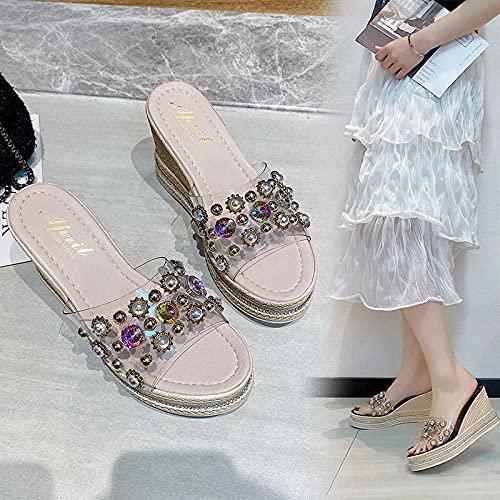 WUHUI Zapatos de Ducha Playa y Piscina Sandalias, Pendiente Transparente con Chanclas, Pantuflas Casuales Impermeables-Blanco_36, Zapatos de Playa y Piscina para Hombre
