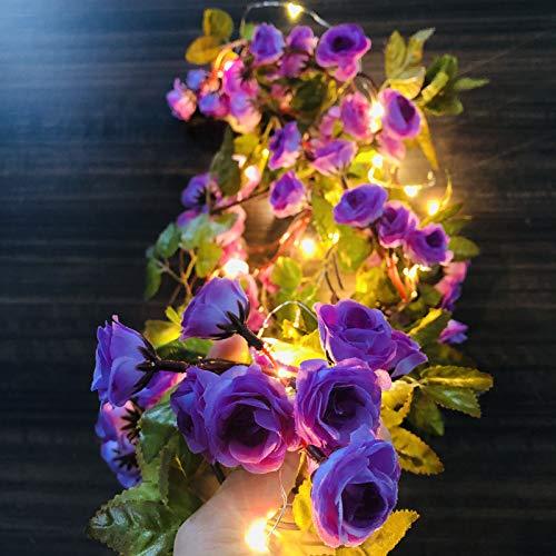 Guirnalda de luces con 69 flores artificiales de seda con 20 luces LED, funciona con pilas, para Navidad, bodas, decoración (lila, 2 m/20 LED)