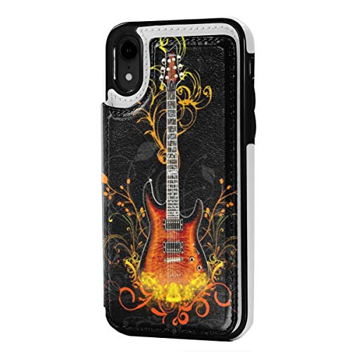 Rock Guitars Wallpaper iPhone XR Wallet Case Credit Card Holder PU Leather Magnetic Closure Cover Case 6.1 Inch