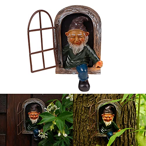 Elf Out The Door Tree Hugger Whimsical Tree Sculpture Gnome Statue Ornaments Garden Peeker Yard Art Mini Garden Decoration for Lawn Indoor or Outdoor Porch Miniature Dollhouse Micro landscape
