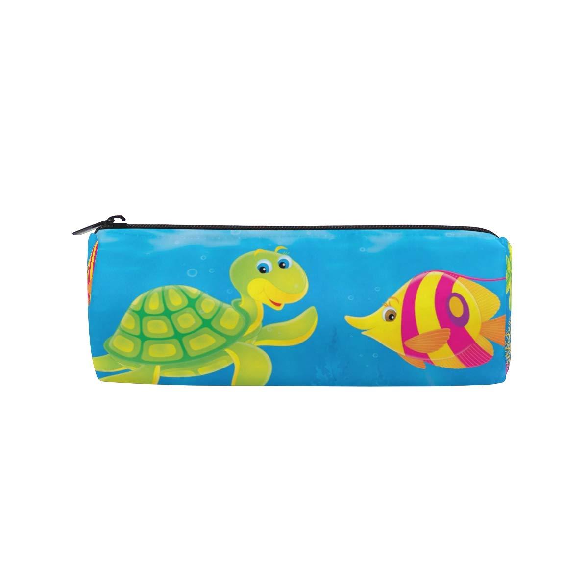 Ahomy - Estuche para lápices con diseño de tortuga marina de dibujos animados y peces submarinos con cremallera colorida para adolescentes y niños, bolsa de maquillaje de viaje para mujeres: Amazon.es: Oficina
