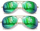 Joopin Aviator Sunglasses for Men Women, 2 Pack Military Style Sunglasses Polarized (Green+Green)