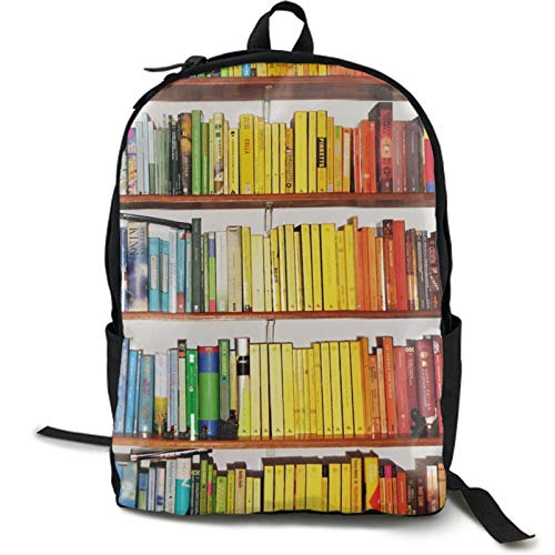 Lightweight Colouful Bookshelf Backpack for Women Men Teens Casual Outdoor Travel Daypack with Side Mesh Pockets for Books Laptop Storage