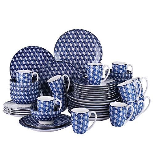 vancasso, série Aichi, service de table, 48 pièces, pour 12 personnes, en porcelaine, bleu, style japonais