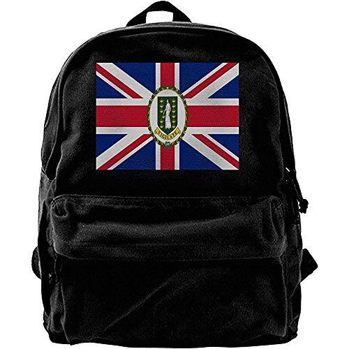 Yuanmeiju Computerrucksäcke, College School Büchertaschen, Classic Canvas Daypack, Reiserucksack, Flagge der Britischen Jungferninseln Lässiger Schulterrucksack, Notebook-Laptoptasche