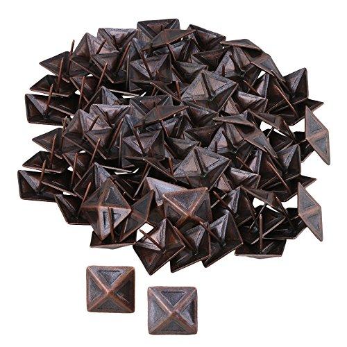 RDEXP Vintage quadratisch Polster Möbel dekorativ Ohrstecker Nägel Pins Tacks 30 x 30 mm, 100 Pieces