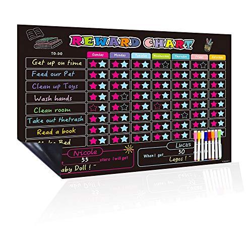 UCMD Magnetische Belohnungskarte für ein oder zwei Kinder, 43,2 x 33 cm, Verhaltensdiagramm, Kreidetafel (Kinderkalender)