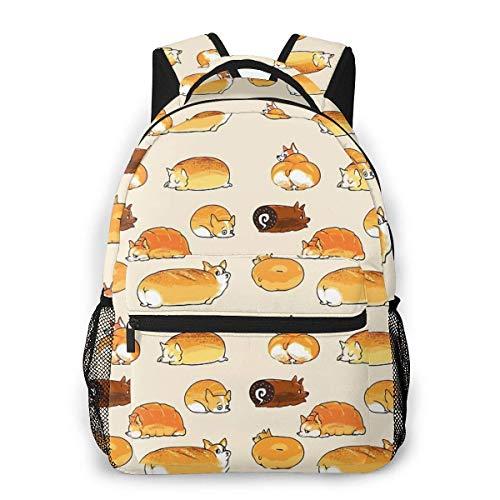 Bread Corgis Causal Daypack Rucksack Vintage College School Bags Multipurpose Laptop Backpack for School/Business/Work/Men/Women