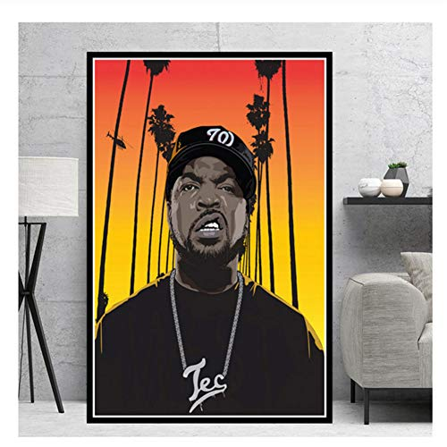 Suuyar NWA Hip Hop Music Rapper Stars Ice Cube Eazy-E Canvas Poster Prints Oil Painting Art Wall Pictures Decor-20X28 Inch No Frame