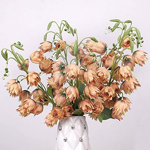 Kesio - 5 fiori artificiali in seta, motivo Yucca, Gloriosa, motivo floreale, per casa, casa, soggiorno, matrimonio, colore: Champagne)