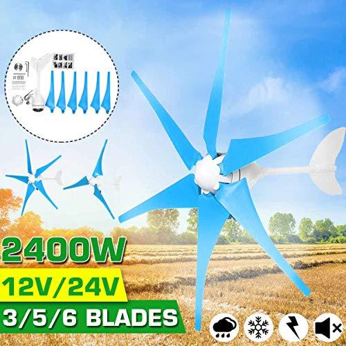 2400W 3/5/6 hoja horizontal turbinas de viento generador de corriente continua 12 / 24V del molino de viento Energía Turbinas Motor Kit de carga de la batería para el hogar camping,3 blades,12V