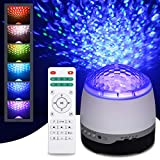 Tomshin LED-Projektionslampe, Sternenprojektor, Nachtlicht, 3-in-1 Sternenlampe & Ozeanwellen-Projektor mit Musik-Bluetooth-Lautsprecher