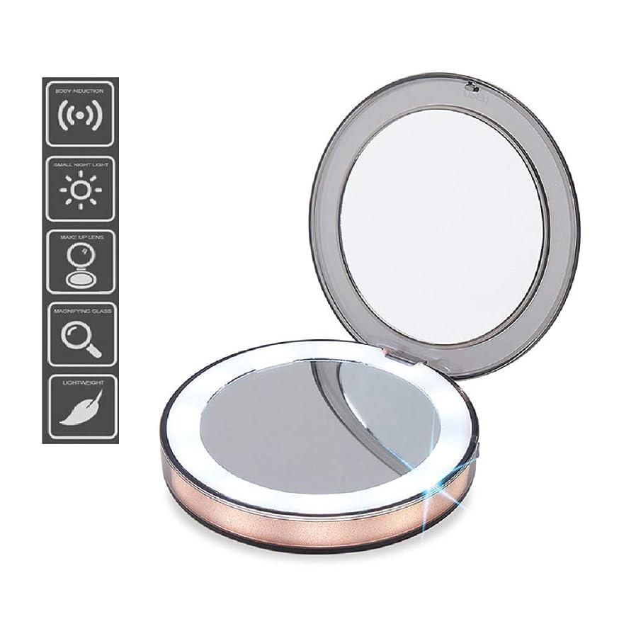 ロビーウール噛むLED Light Mini Makeup Mirror 3X Magnifying Compact Travel Portable Sensing Lighting Makeup Mirror LEDライトミニメイクアップミラーコンパクトトラベルポータブルセンシングライトメイクアップミラー