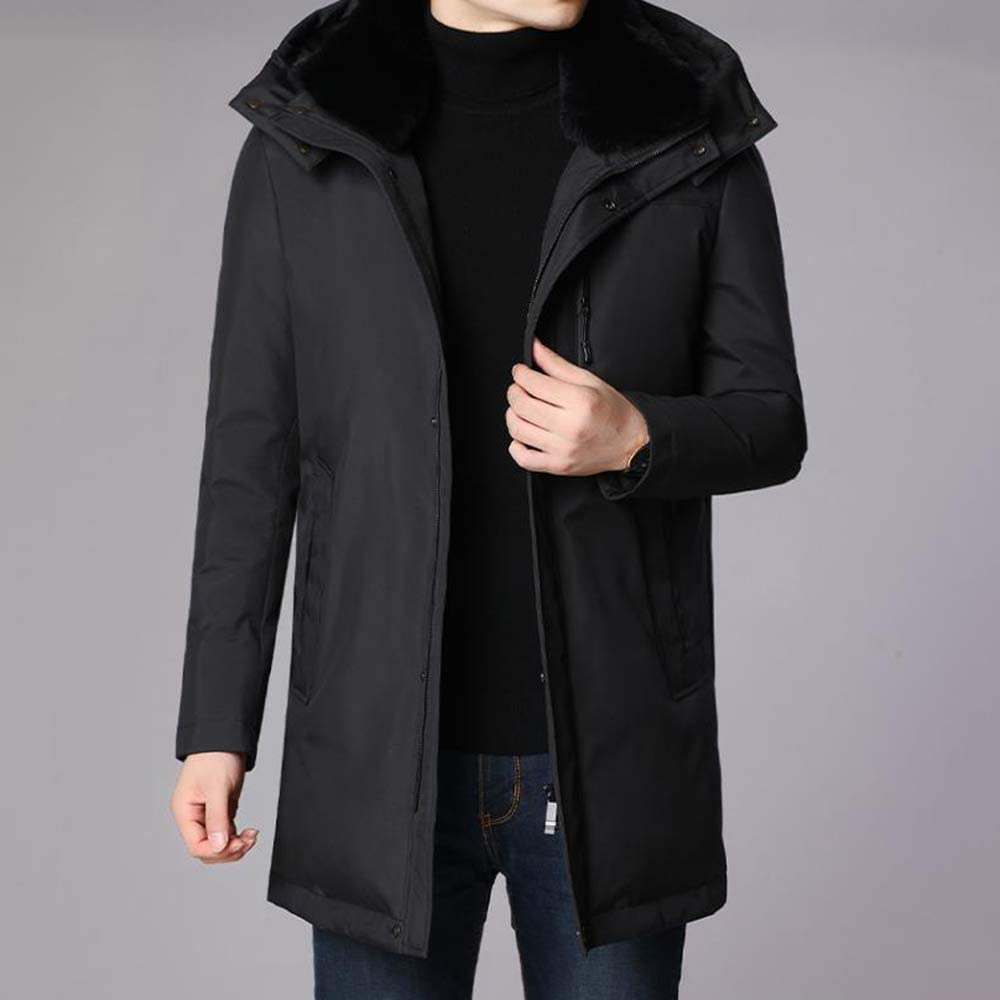 Down jacket Middle-Aged Hooded Thicken, Men's Medium Long Winter Warm Winter Jacket with Fur Collar, Padding: 90% White Duck Down