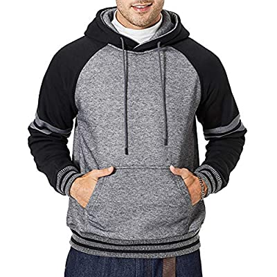 Men Classic Lightweight Hooded Sweatshirt Gym Workout with Adjustable Drawstring, Gray-M