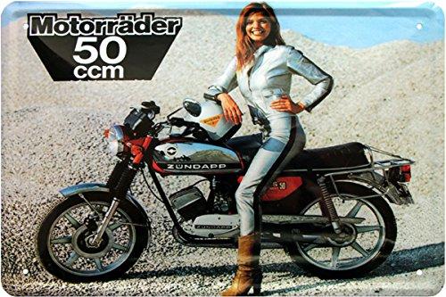 Blechschild 20x30 cm Zündapp KS50 Moped Pin up Girl Bike Werbung Werkstatt Metall Schild