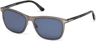 Tom Ford Fashion Men Sunglasses Alasdhair FT0526 / 55-17-145x3 Metal Platinum Frame Blue Lenses. 55mm (small size). UV Protection and Maximum Comfort. 100% Authentic. Made in Italy.