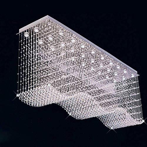 ZCZZ - Lámpara de techo grande de cristal moderno rectangular con diseño de arañas colgantes de luz fría, 120 x 40 x 100 cm