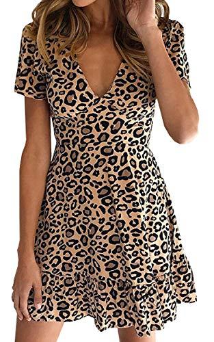 ECOWISH Womens Deep V Neck Floral Leopard Dress Short Sleeve Sexy Ruffles Fashion Mini Dress Khaki M