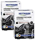 Heitmann Wäsche Schwarz Tücher (10 Tücher, Schwarz), 2er Pack: Färbetücher zur Farbpflege für schwarze Textilien - Farb-Erhalt beim Waschen, Rückstandsfreie Pflege gegen Verblassungen