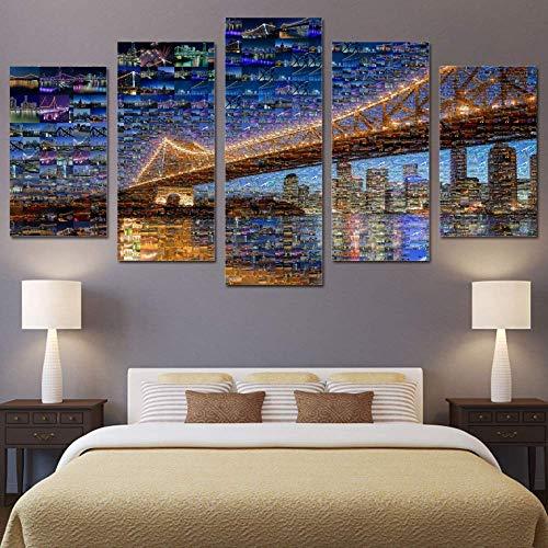 SLSMD-ART fotobehang 5 stuks canvas gedrukt abstracte brug landschap kunst woonkamer slaapkamer decoratie, 100x55cm Eén maat 20 x 35 cm x 2 20 x 45 cm x 2 20 x 55 cm x 1