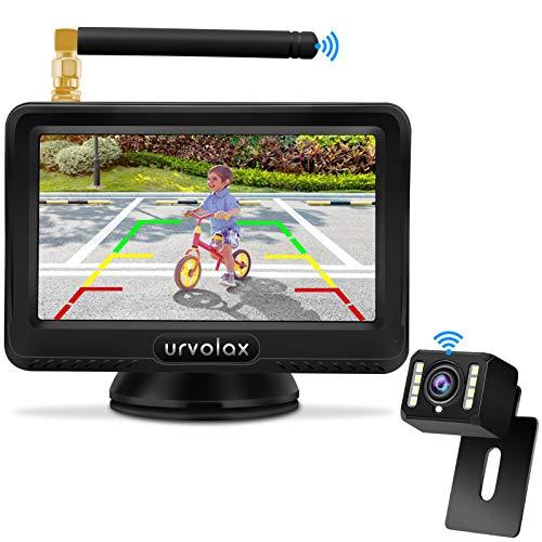 URVOLAX Rückfahrkamera Kabellos, Rückfahrsystem,IP69K wasserdichte Auto rückfahrkamera mit 170°Weitwinkel,Super-Nachtsicht mit stabilem Signal,4,3-Zoll-LCD-Monitor und Einparkhilfe für Autos