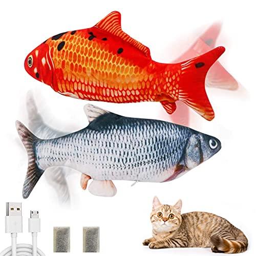 2pcs Elektrische Fische Katze,Simulation Fisch,Katzenminze Fisch Spielzeug,Katzenspielzeug Fisch Elektrisch,Elektrisch Spielzeug Fisch,Katze Interaktive Spielzeug,Katzenspielzeug Fisch USB Aufladung