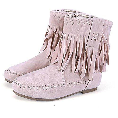 XBXB Stylische Damen Stiefeletten Worker Boots Spitze Knöchelhohe Stiefel Gesteppt Damenschuhe Leder-Optik Damen Stiefel Stiefeletten Nieten Fransen Schuhe, apricot, EU39/UK6