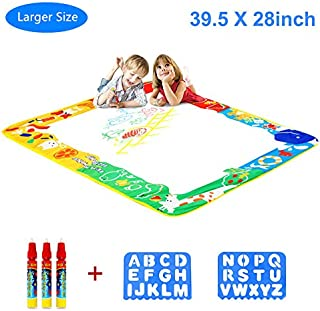 """Aquadoodle Mat, Kids Toy Large Water Doodle Mat 39.5"""" X 28"""" with 3 Magic Pens 2 Drawing Molds, Kids Educational Learning Toy  Boys Girls Toddlers Age 2 3 4 5 6 Years Old Toddler Toys"""