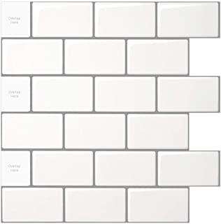 10-Sheet Peel and Stick Tile for Kitchen Backsplash, 12x12 inches White Subway Tile with Grey Grout
