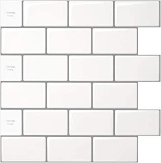 LONGKING 10-Sheet Peel and Stick Tile for Kitchen Backsplash, 12×12 inches White..