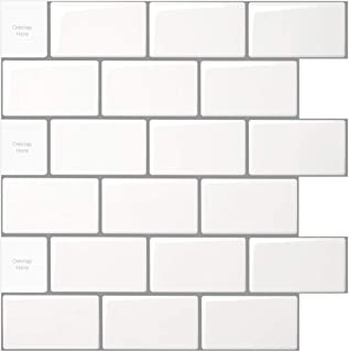 LONGKING 10-Sheet Peel and Stick Tile for Kitchen Backsplash, 12x12 inches White Subway Tile with Grey Grout
