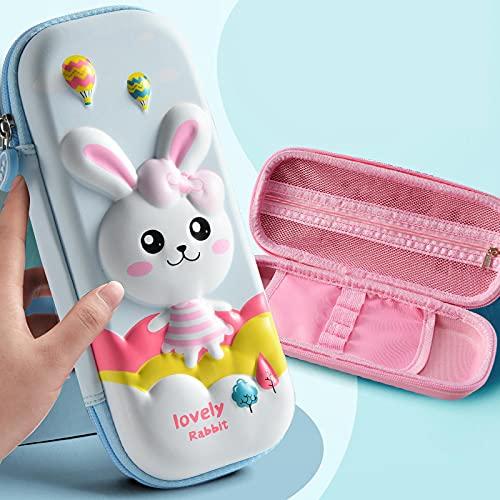 NYSYZSM Estuche 3D con diseño de unicornio rosa para la escuela, oficina, caja de lápices de EVA, suministros escolares, bolsa de bolígrafos portátil para niños, 23 x 10,5 cm, color azul claro