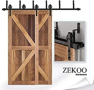 ZEKOO 9 FT Bypass Barn Door Hardware Sliding Black Steel Big Wheel Rolle Hanger