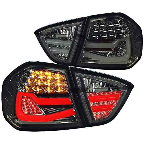 Spec-D Tuning Smoke LED Parking Tail Lights Tinted Rear Brake Lamps for 2005-2008 Bmw E90 3-Series 4Dr Sedan Taillights Assembly Left + Right Pair