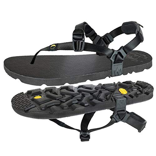 MONO Winged Edition by LUNA Sandals | Unisex Lightweight Athletic Sandals 5.9oz | 11mm (+ 4mm lugs) Vibram Sole | Ideal for Walking, Running, Hiking, Camping, Traveling | Black Huarache Adjustable Fit (Men's 9 / Women's 11)