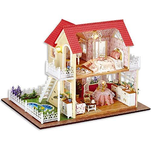 ROOMLIFE Miniature Dollhouse Mini Kit 1:24 Scale Princess Villa Dollhouse Kit DIY Little DIY Doll House Doll House Miniature House DIY Kit Mini House Building Kit for Adults