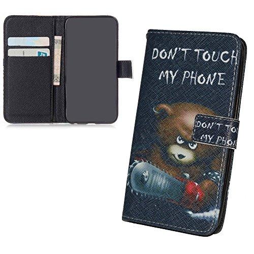 König Design Handyhülle Kompatibel mit Sony Xperia M5 Handytasche Schutzhülle Tasche Flip Hülle mit Kreditkartenfächern - Don't Touch My Phone Bär mit Kettensäge