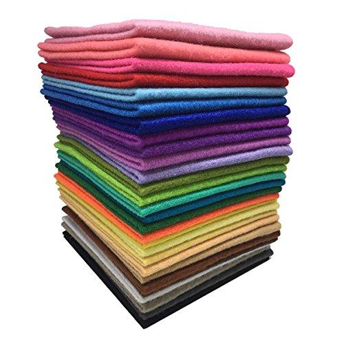 Tissu Feutre Tissu Non Tissé ROSENICE 28 Feuille de Feutrine pour Bricolage Couture(30x30cm)