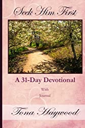 pink book cover, path through woods, seek him first devotional