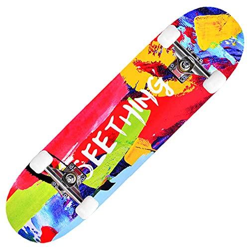 XYCSM Principiante Monopatín Completo / 30X8 Pulgadas/Canadian Maple Doble Kick Deck Concave Trick Pinkate Apto para Niños Adultos Y Principiantes Carga de 220 Libras Scunt Scoot
